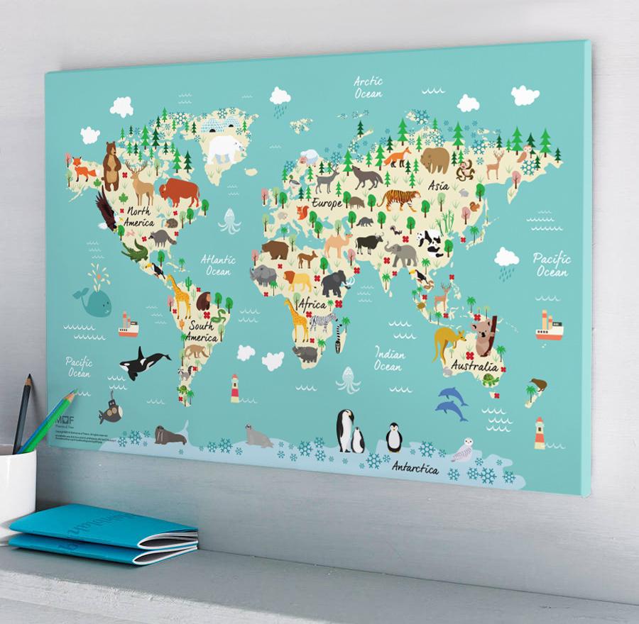 กรอบลอยแคนวาส Animal map of the world 30 x 20 นิ้ว