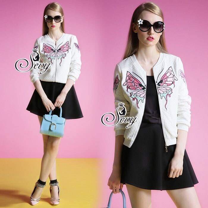 Sevy Butterfly Embroidered Long Sleeve Jacket