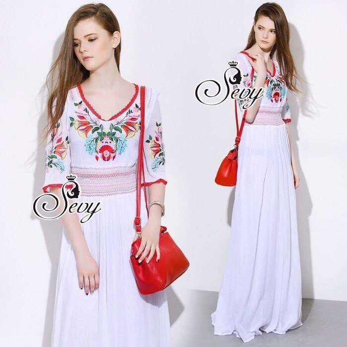 Bohemian Embroidered Flora Maxi Dress