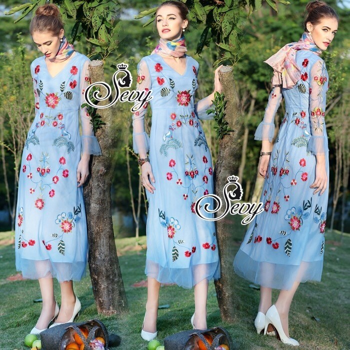 The Embroidered Vintage Bohemian Style Maxi Dress