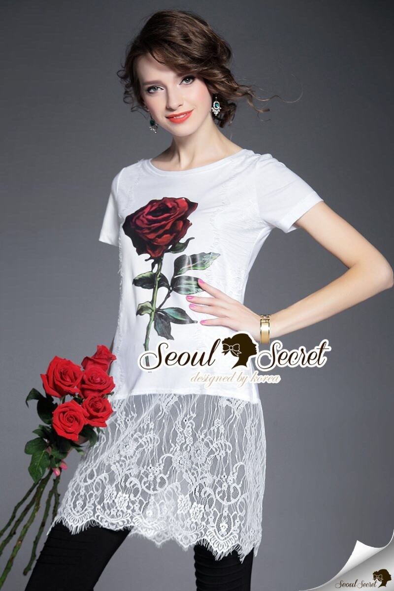Red Rosy Lace Tail Dress
