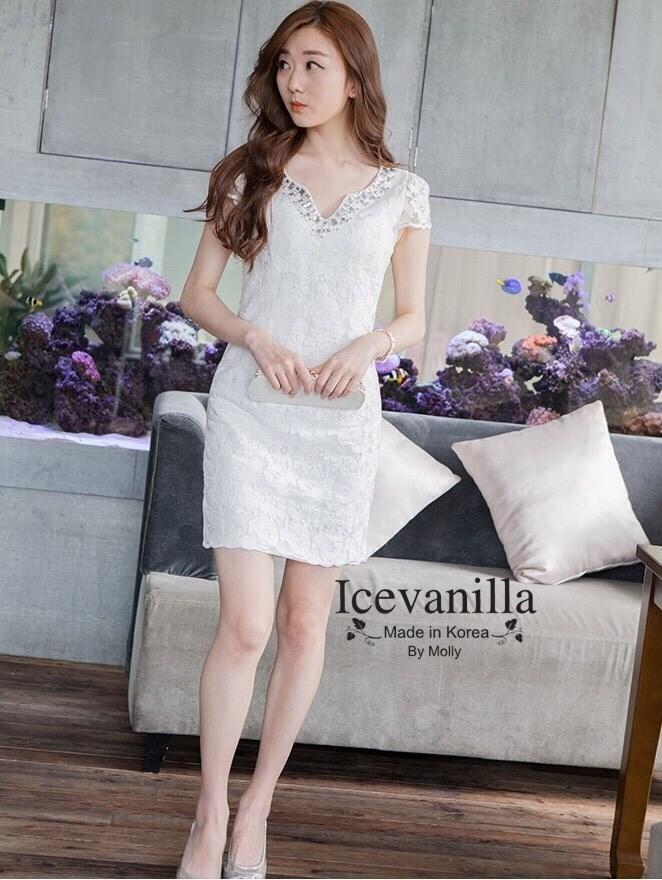 White embellished lace Dress