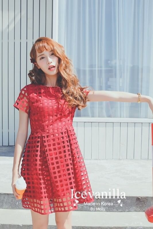 Red valen lace dress