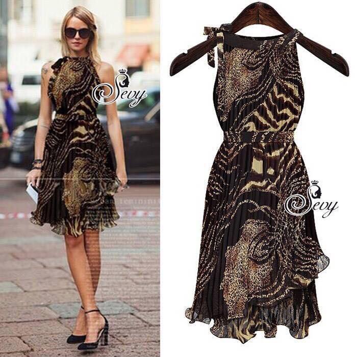 Leopard Sleeveless Pleat Swing Wave Mini Dress