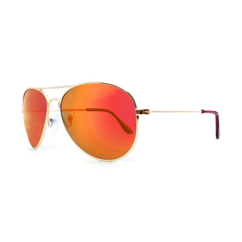 Knockaround Mile Highs Sunglasses - Gold / Polarized Red Sunset