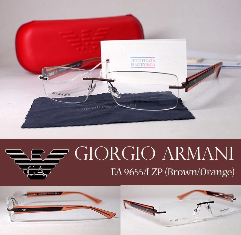 กรอบแว่นสายตา Giorgio Armani Rimless (Brown / Orange) ขนาด 55-13-140