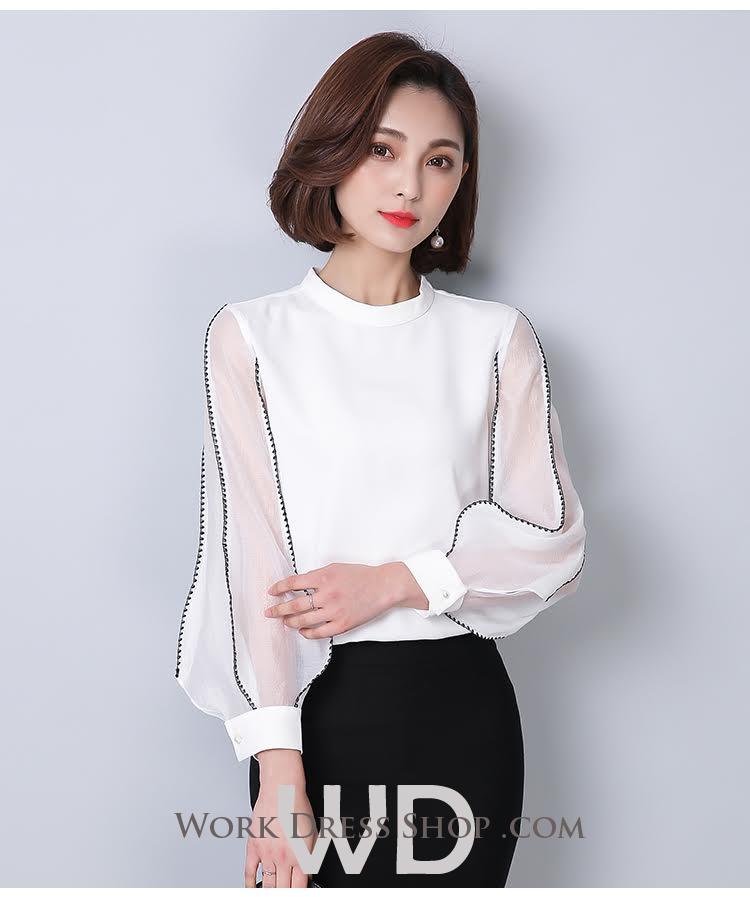 Preorder เสื้อทำงาน สีขาว แต่งแขนซีฟองเดินเส้นขอบสวย