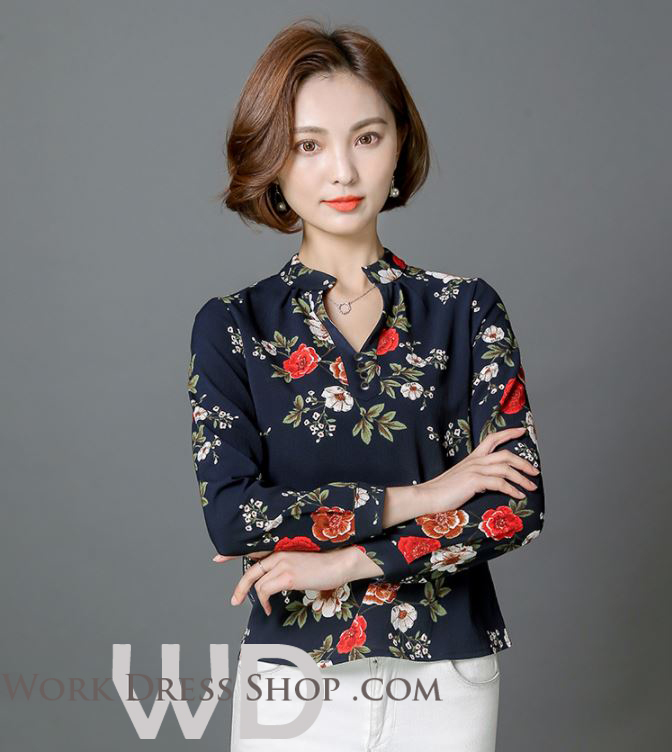 Preorder เสื้อทำงาน สีกรมท่า คอจีน แขนยาว พิมพ์ลายดอกไม้สวยหวาน เนื้อผ้าระบายอากาศได้ดี