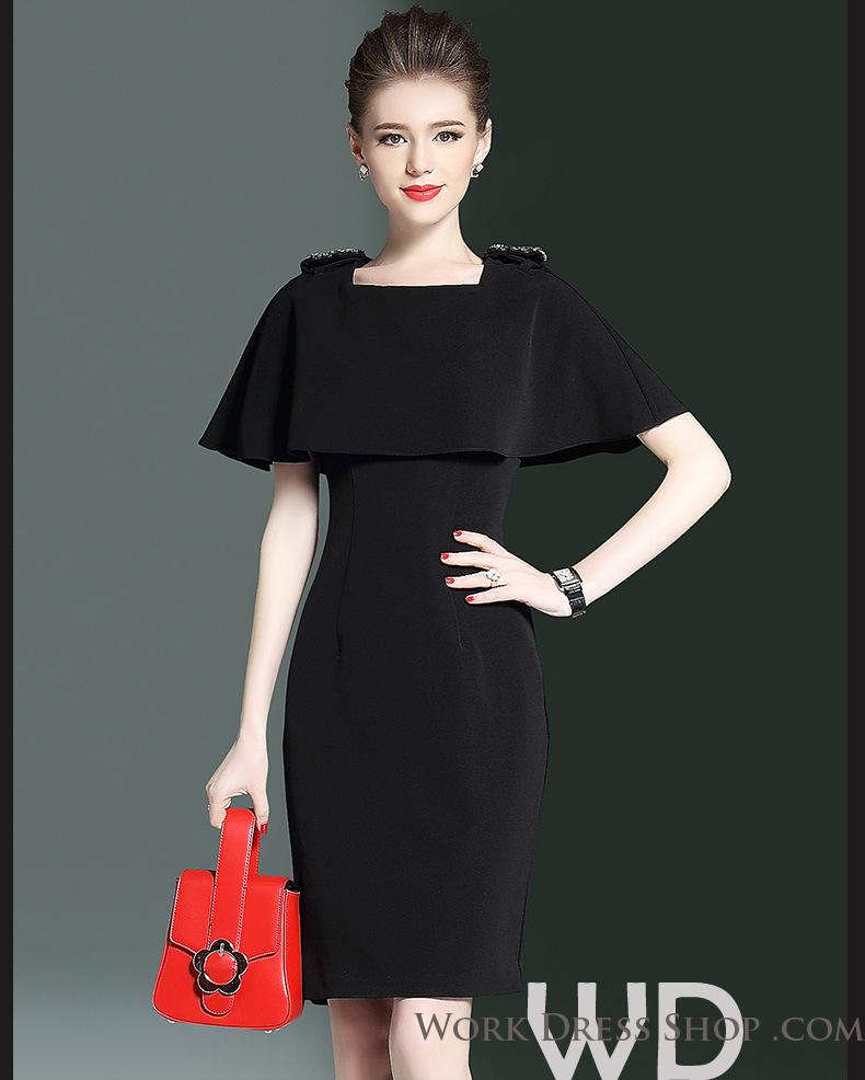 Preorder ชุดทำงาน สีดำ แขนทรงคล้ายผ้าคลุมพริ้วสวย ช่วงไหล่แต่งลูกปัดเก๋ๆ