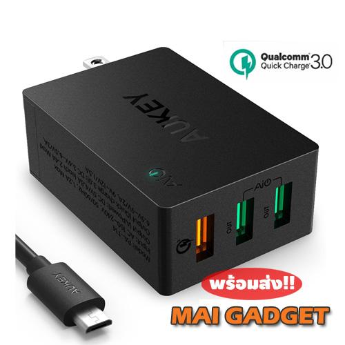 ที่ชาร์จมือถือ Aukey Qualcomm Quick Charge 3.0 (3.0 + 2.0) 36W 3 Ports