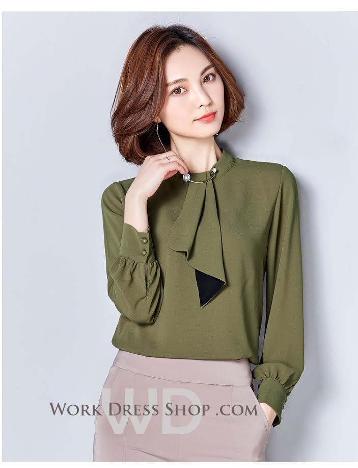 Preorder เสื้อทำงาน สีเขียว ผ้าซีฟองแบบหนา เนื้อผ้าระบายอากาศได้ดี