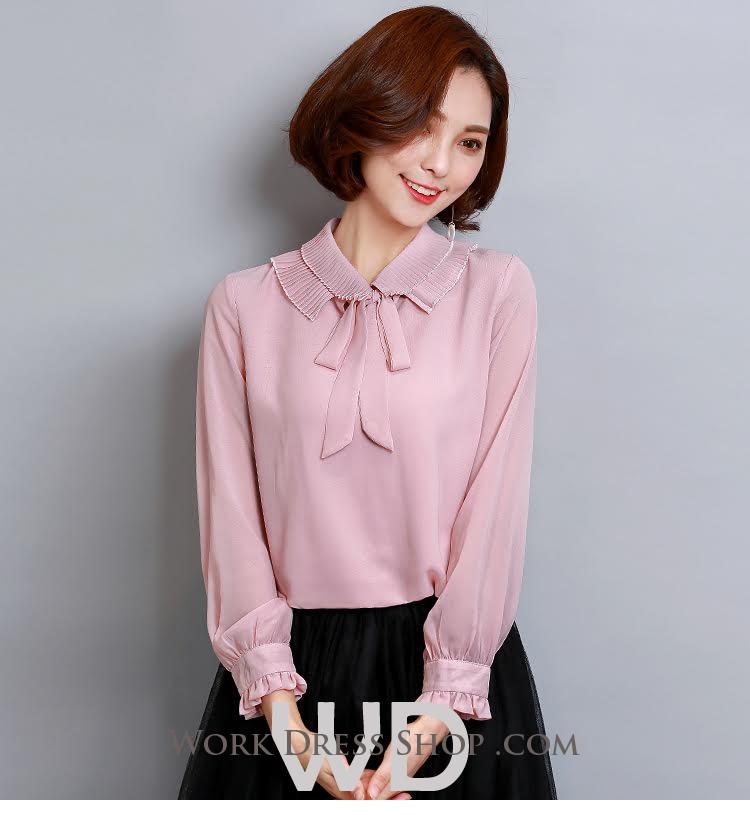 Preorder เสื้อทำงาน สีชมพู คอแต่งระบายพร้อมโบว์ผูกน่ารัก