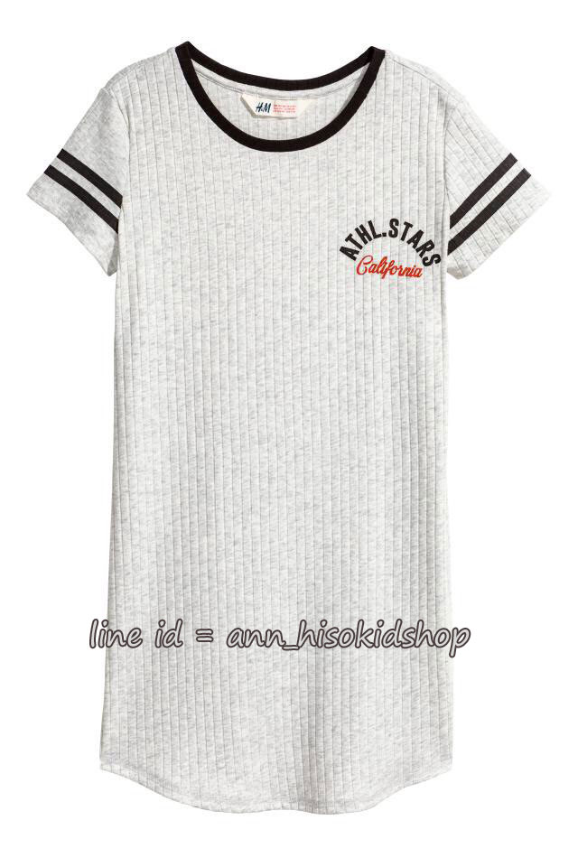 2021 H&M Jersey Dress - Grey ขนาด 8-10,10-12,12-14,14+ ปี )
