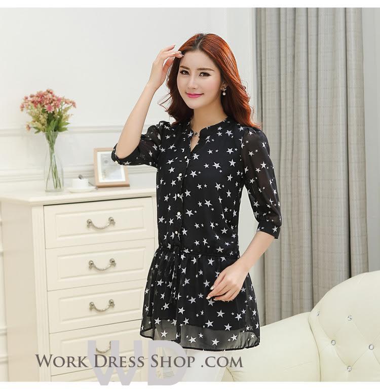 Preorder เสื้อทำงาน คอจีน สีดำ ผูกเอว ผ้าพิมพ์ลายดาว