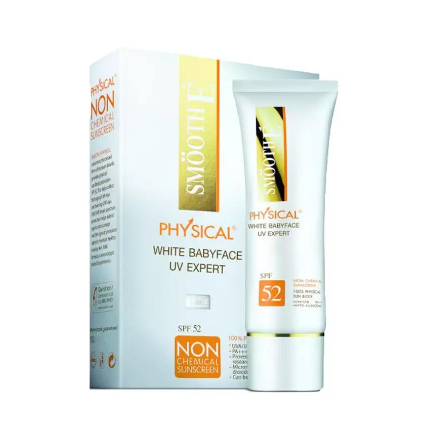 Smooth E Physical White BabyfaceUV Expert SPF 50+ PA+++ ขนาด 15 g สี : ขาว (WHITE)
