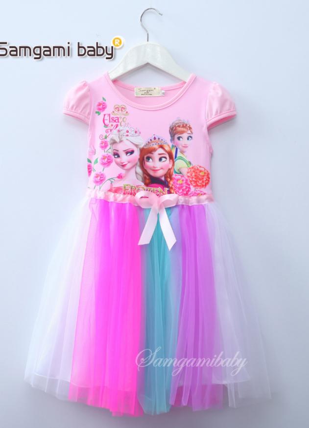 เดรสกระโปรงสีชมพูแขนตุ๊กตา ลาย Elsa&Anna สวยกระโปรงฟรุ้งฟริ้งสีรุ้ง งานสวยใส่แล้วน่ารักมากค่ะ