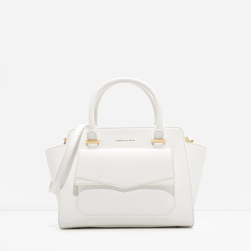 CHARLES & KEITH STRUCTURED TRAPEZE BAG *ขาว