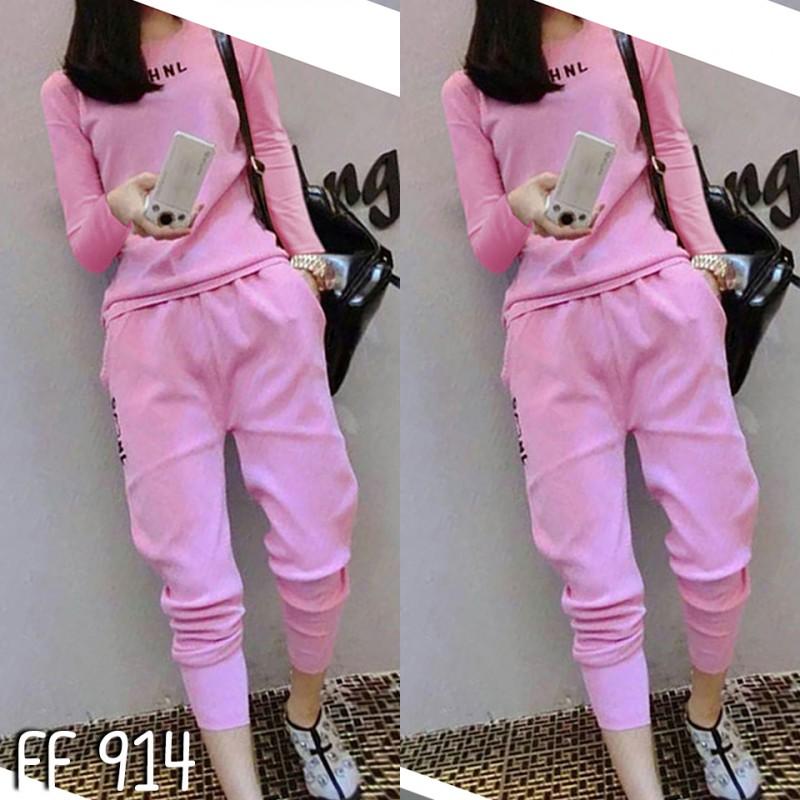เซ็ตเสื้อแขนยาว+กางเกงขายาว-สีชมพู