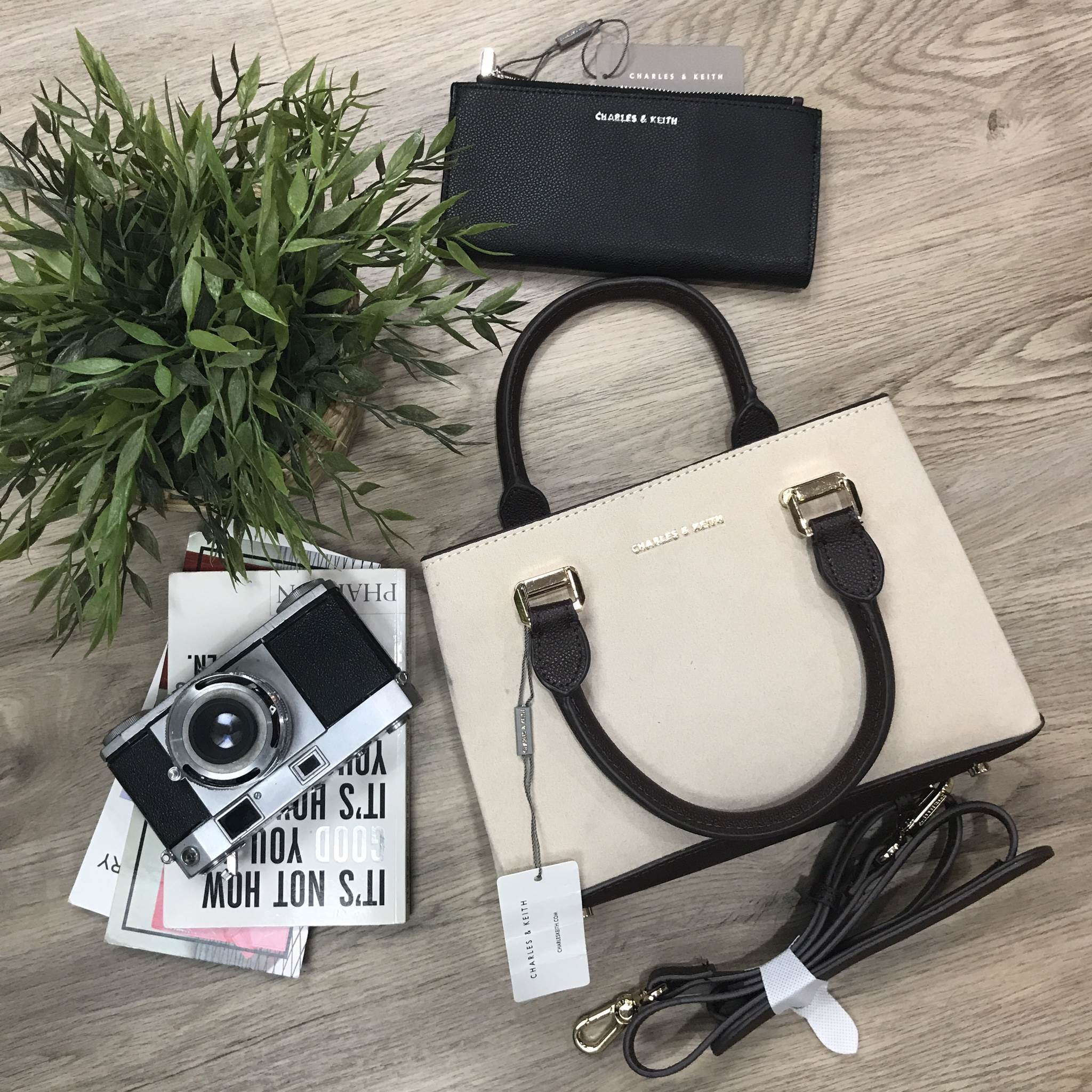CHARLES & KEITH STRUCTURED TOP HAND BAG *สีครีมเบจ