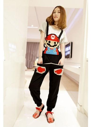 ชุดเอี๊ยม jumpsuit Super Mario เอวยืด พร้อมสายเอี๊ยมแบบถอดได้ สีดำ