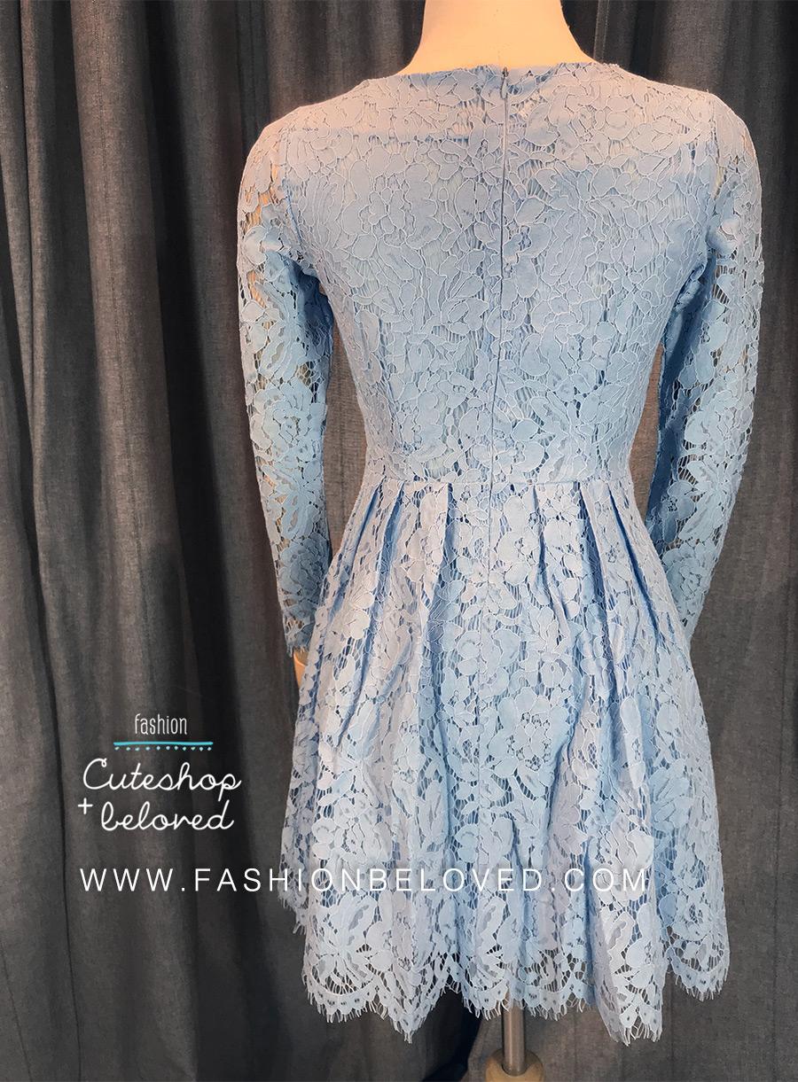 ชุดเดรสลูกไม้สีฟ้า แขนยาว ชุดผ้าลูกไม้สั้นสวยๆ น่ารักๆ แฟชั่นเกาหลี