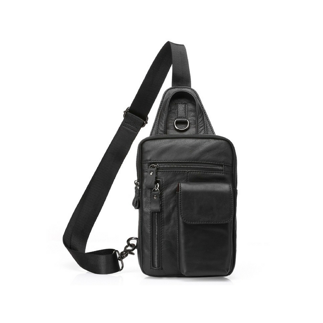 กระเป๋าสะพายเฉียง กระเป๋าคาดอก หนังแท้ สามารถใส่โทรศัพท์ ไอแพท ปืนพกสั้นได้ สำหรับผู้ชาย