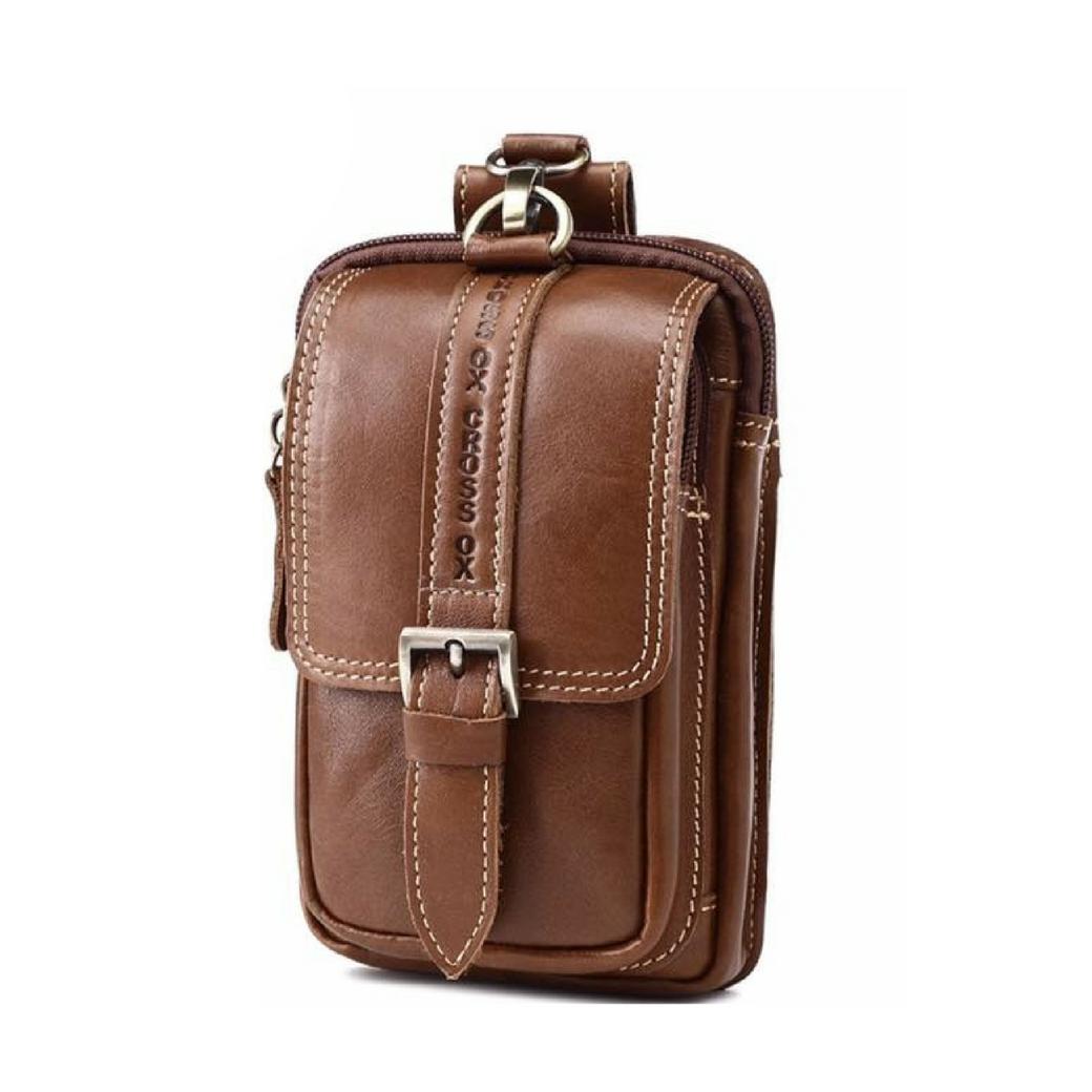 กระเป๋าร้อยเข็มขัด กระเป๋าใส่โทรศัพท์ ผู้ชาย ขนาด 2 ช่อง ผลิตจากหนังวัวแท้ สีน้ำตาล