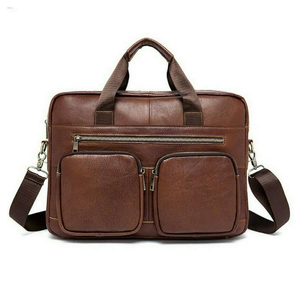 กระเป๋าสะพายข้าง กระเป๋าถือ กระเป๋าเอกสาร เป็นกระเป๋าหนังแท้ สามารถใส่เอกสาร ใส่แล็ปท็อป ขนาด 15 นิ้ว {โทนสีน้ำตาล}