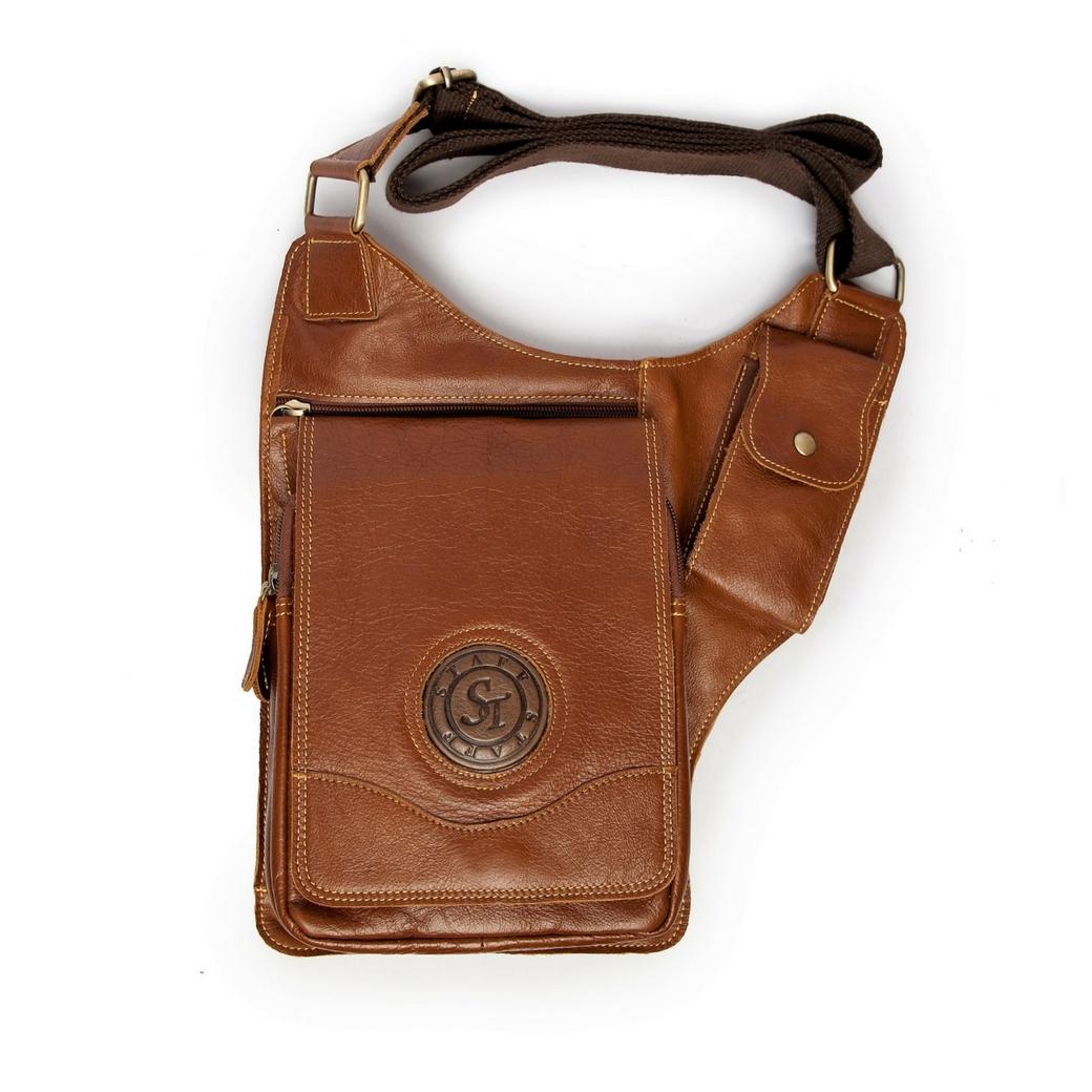 กระเป๋าสะพายข้าง หรือ กระเป๋าซองปืน ที่มีความคล่องตัวสูง เป็นกระเป๋าหนังแท้ สามารถเก็บ ไอแพด ปืนสั้น อื่นๆ เหมาะสำหรับ ผู้ชา