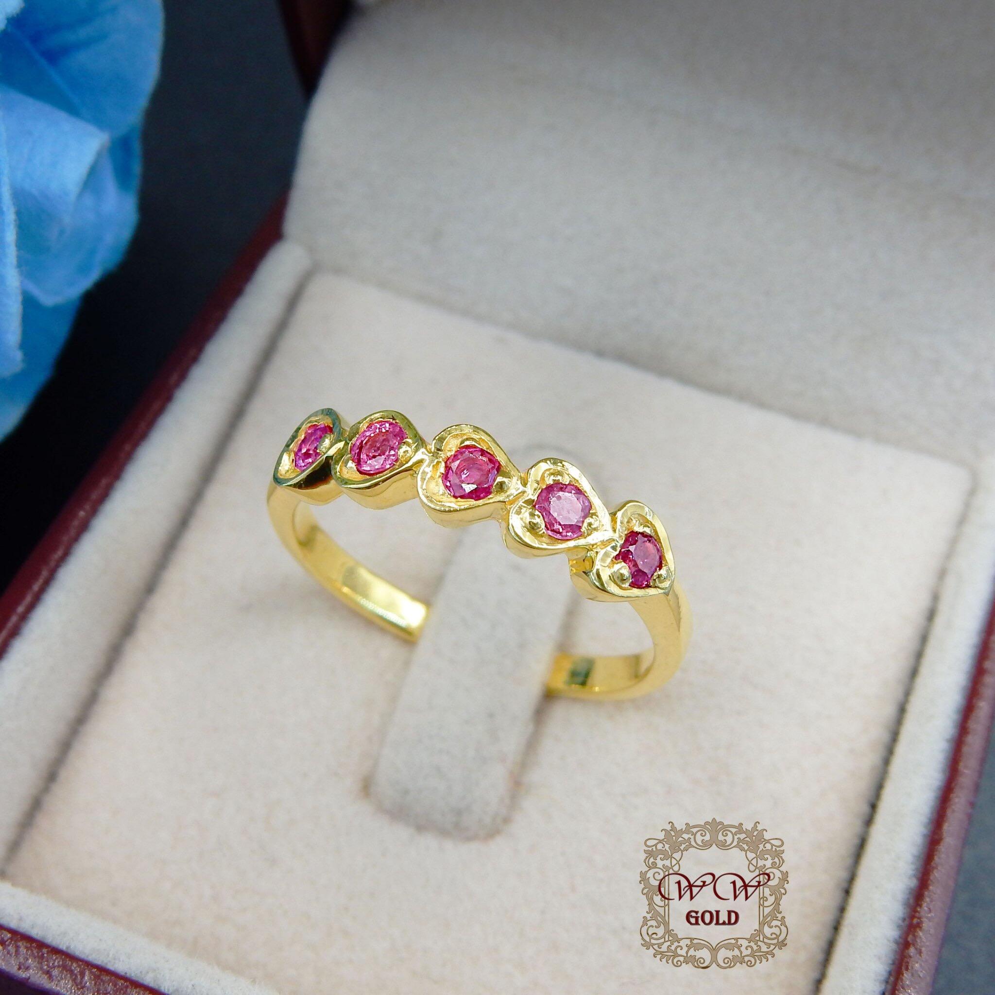 แหวนเพชรดีไซน์หัวใจ (ทับทิมแท้)