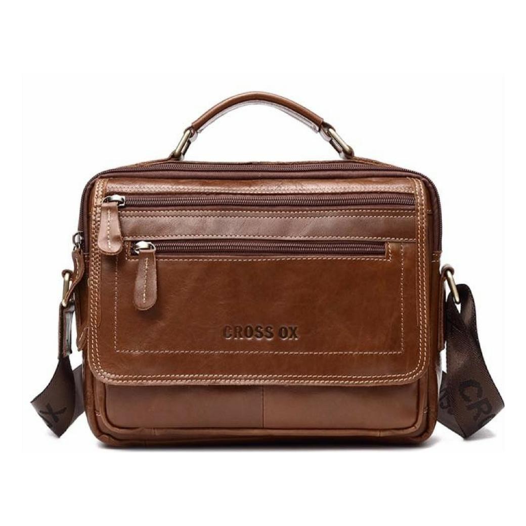 กระเป๋าสะพายข้าง กระเป๋าถือ ผู้ชาย ผลิตจากหนังวัวแท้ สามารถใส่ไอแพท เอกสาร และ อุปกรณ์ต่างๆ