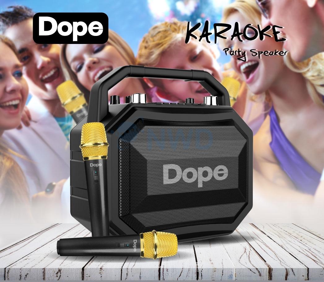 ลำโพง DOPE รุ่น Karaoke+ไมค์คู่2ตัว