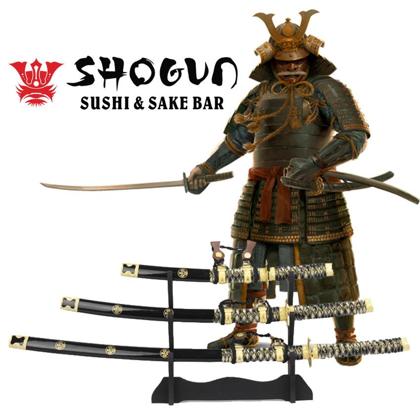 JAPAN ดาบโชกุนญี่ปุ่น shogun มี 3 เล่ม 3ขนาด(ตีตราสมัยเอโดะ)+แท่นวาง