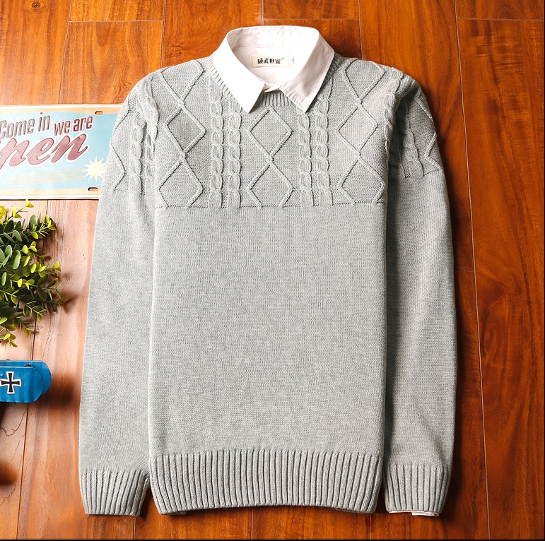 Super warm ticker men's sweater (สีขาว)