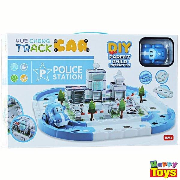 yue cheng track car police station diy parent child interaction รถรางชุดสถานีตำรวจ ออกแบบสถานนีตำรวจของเด็กๆด้วยมือตัวเอง