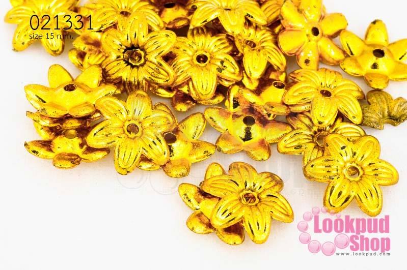 ลูกปัดพลาสติกเคลือบสีทอง ดอกไม้ 15มิล (1ขีด/100กรัม)
