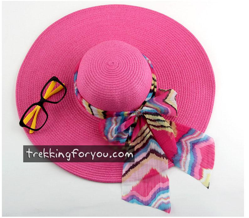 หมวกแฟชั่นเกาหลี หมวกกันแดดทรงปีกกว้าง : สีชมพู MN009