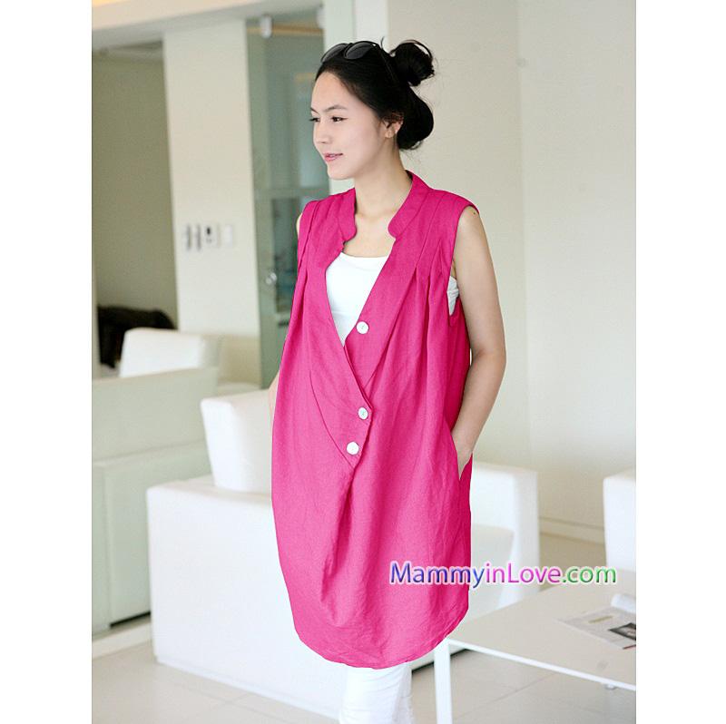 เสื้อคลุมตัวผ้าคอตตอน แขนกุด : สีชมพู รหัส JC004