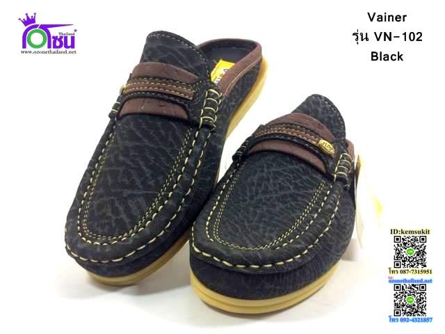 รองเท้าคัชชูเปิดส้น Vainer รุ่น NV-101 สีดำ เบอร์40-45