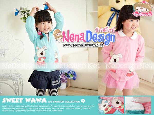 เสื้อผ้าเด็กน่ารัก เสื้อผ้าเด็กไต้หวัน เสื้อกันหนาวกระต่ายน้อย สีชมพู สีฟ้า
