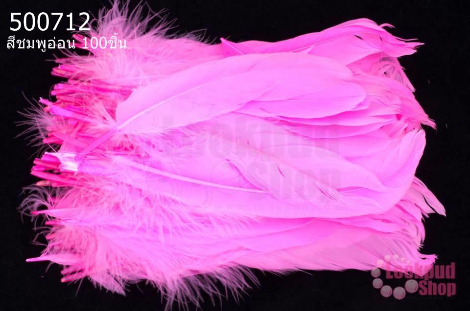 ขนนก(ก้าน) สีชมพูอ่อน 100ชิ้น