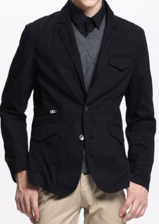 เสื้อสูทแฟชั่นผู้ชาย สไตล์ลำลอง กระดุมสอง ซิบพิเศษ Size No. 39 41 43 ดำ