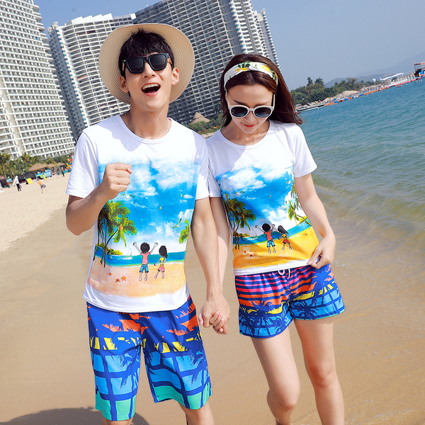 เสื้อคู่รัก ชุดคู่รักเที่ยวทะเลชาย +หญิง เสื้อยืดสีขาวลายคู่รักสวีทเที่ยวทะเล กางเกงขาสั้นลายมะพร้าวโทนสีฟ้า +พร้อมส่ง+