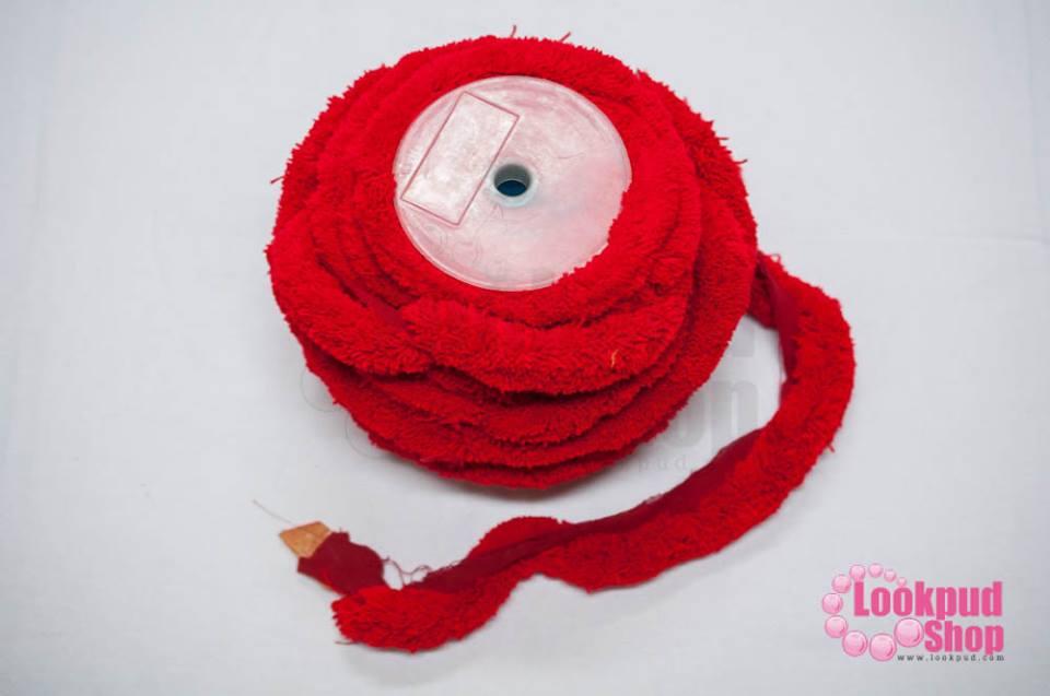 พู่ไหมพรม หางกระรอก สีแดงสด กว้าง 4ซ.ม(1หลา/90ซ.ม)