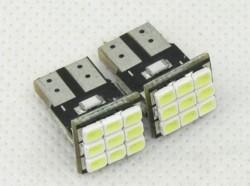 LFC001 LED T10 สีขาว Wedge 9 SMD 1206 สำหรับรถยนต์ เช่น ป้ายทะเบียน ไฟหรี่ ขายเป็นแพ็คคู่ (2 ชิ้น) ยี่ห้อ OEM รุ่น