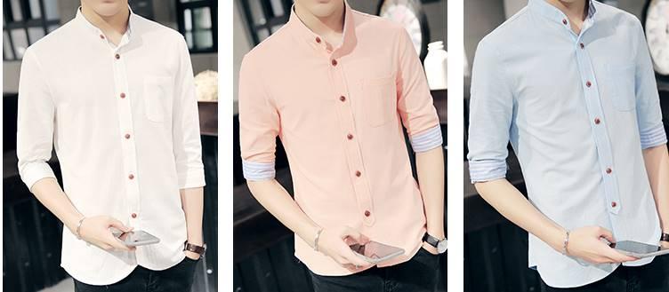 5สีซื้อคู่ราคาพิเศษ899-!!เสื้อเชิ้ตคอจีนแขนสั้น พับแขนลายฟ้า Size No.34 36 38 40 42 44 ชมพู น้ำเงิน ขาว ดำ ฟ้า