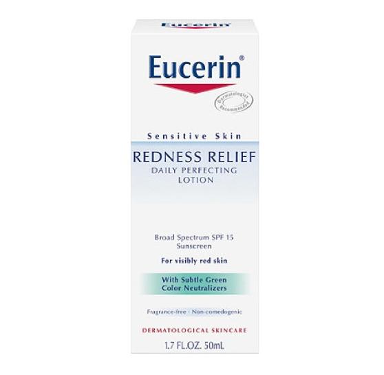 โลชั่นบำรุงผิวหน้าสำหรับกลางวัน Eucerin Redness Relief Daily Perfecting Lotion SPF 15 (50ml.)