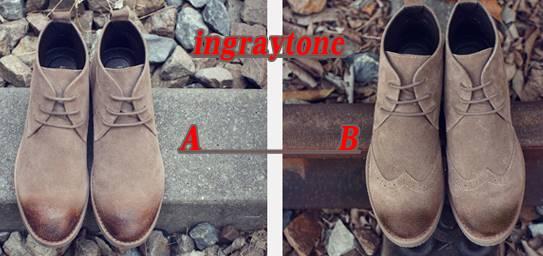 รองเท้าหนังกลับหุ้มข้อชาย ทรงอังกฤษ วินเทจ คลาสสิค หัวพ่น สี 1-5 แบบ A , B No.38-44