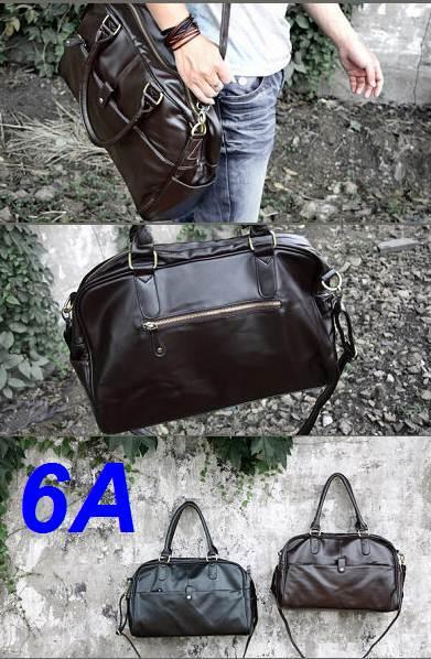กระเป๋าเรโทร Hold all code No.6A สุดคลาสสิค สไตล์อังกฤษ หนังPU สีดำ น้ำตาล