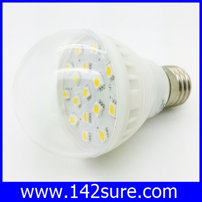 LDL015 หลอดไฟ LED SMD E27-16SMD 3W 12V with cover สีขาวอมเหลือง (เทียบเท่าหลอดตะเกียบ10-15วัตต์)40,000 ชั่วโมง